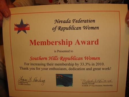 2010 Membership Award - Southern Hills Republican Women Membership Award
