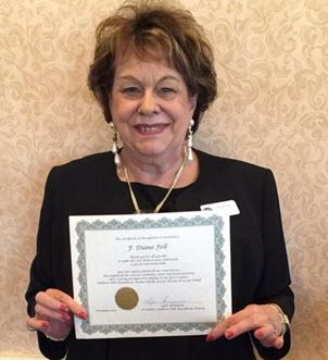 Brunch Diane Fell - Certificate of Appreciation