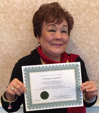Lorraine Kennett - Certificate of Appreciation
