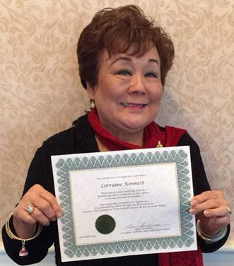 Lorraine Kennett - Certificate of Appreciation