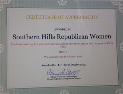 Southern Hills Republican Women - 2013 Convention Awards