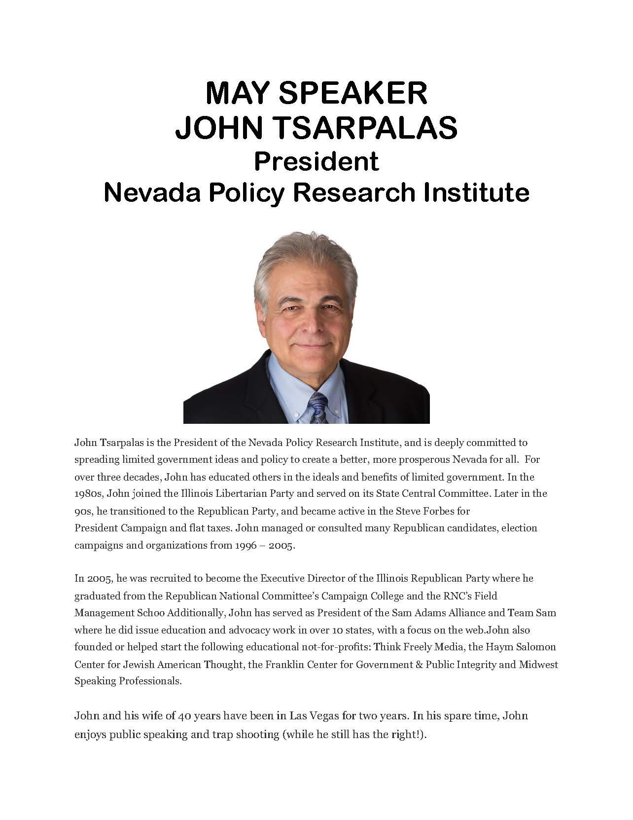 May speaker John Tsarpalas flyer