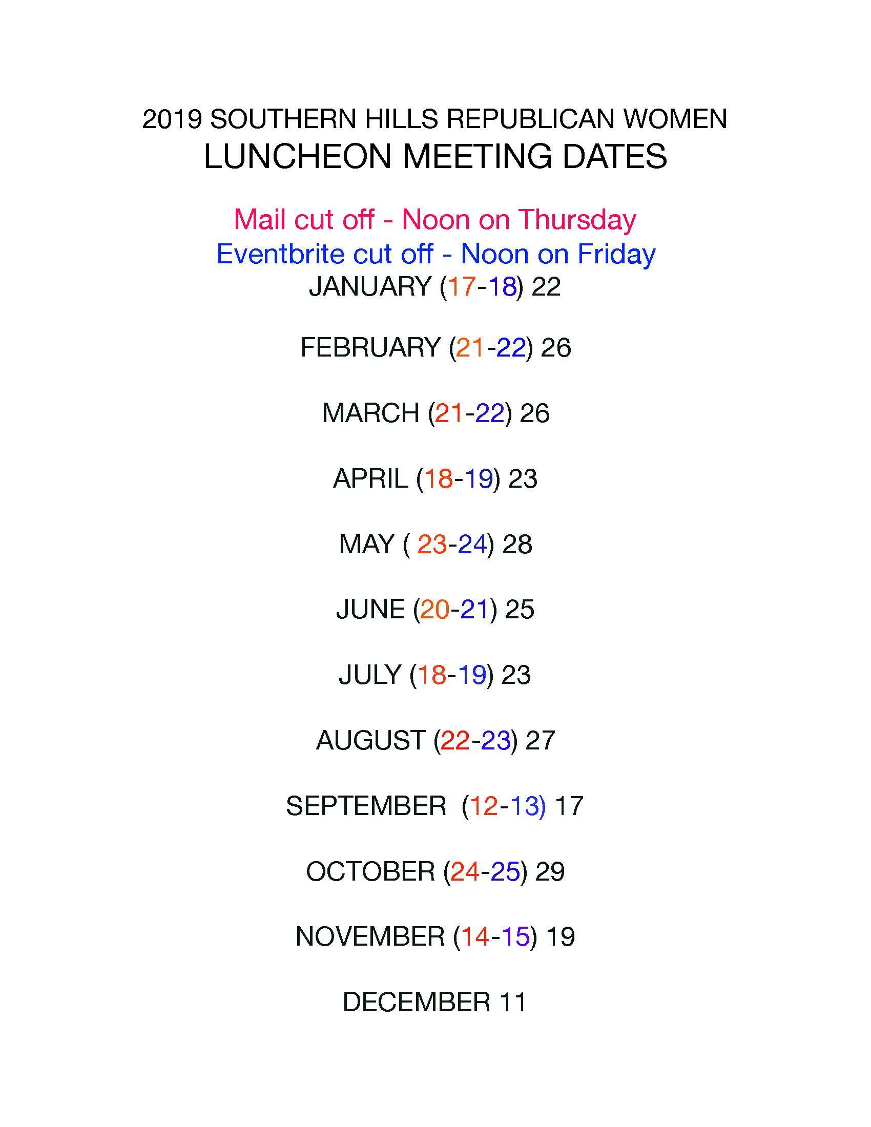 2019 luncheon dates SHRW - Revised